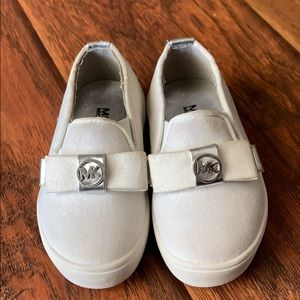 5T Michel by Michael Kors white sparkly slip ons.